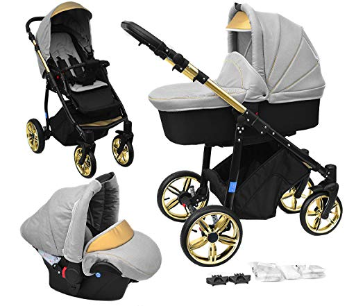 Skyline 3in1 Kombi Kinderwagen mit einem Aluminium Gestell, Babywanne, Sport Buggyaufsatz und Babyschale (ISOFIX) (Hellgrau/Gold)