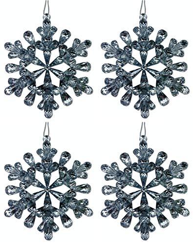 Aminori Set of 4 Jewelled Glitter Snowflakes Hanging Christmas Tree Decoration