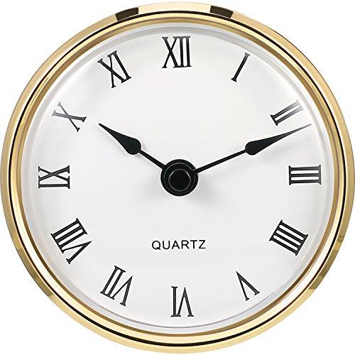 3–1/8pulgadas (80mm) Reloj al cuarzo fit-up/inserto con dobladillo Oro y Números Romanos, Movimiento de cuarzo