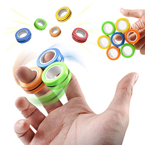 Chylldem Magnetic Rings, Fidget Rings, Roller Rings, Magnet Fidgets, Sensory Fidget Toys for Adults, Teens, Kids in School, Relieve Stress Anxiety ADHD (Random Color, 3 PCS Set)