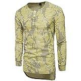 XLDD T-Shirt Homme Manches Longues Col Rond Bouton Chemise Haute Qualité T-Shirt Décontractée Style Africain Conception Jacquard Mode Casual T-Shirt Long Homme Elegante M