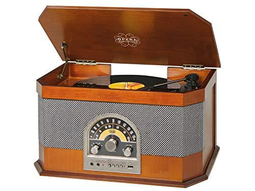 Trevi TT 1040 BT Sistema Stereo Giradischi Vintage con Mp3, USB, Aux-In, Bluetooth, Radio AM/FM, Presa Cuffia, Color Legno