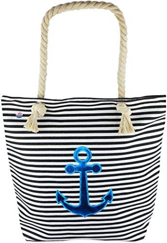 Feelinko Große Strandtasche Marinelook Tasche Beutel Bag Strand Beach Baden schwarz