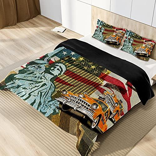 Sängkläder set 3D tryck påslakan set nyhet enkel skötsel mjuk mysig kung (220 x 240 cm), 3 delar set 1 del täcke + 2 delar matchande örngott
