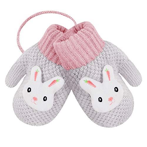 1 par de manoplas para niños de invierno bicolor de punto para niñas, niños y niñas, de bambú, guantes cálidos con forro de felpa, guante de punto grueso para bebés de 2 a 4 años