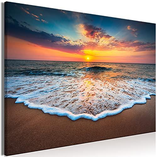 murando Cuadro en Lienzo Mar 120x80 cm 1 Parte Impresión en Material Tejido no Tejido Impresión Artística Imagen Gráfica Decoracion de Pared Playa Paisaje Puesta de Sol Naturaleza c-B-0638-b-a