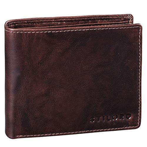 STILORD 'Guillermo' RFID Leder Portemonnaie Männer Geldbörse in Geschenkbox Herren Kartenfächer NFC Ausleseschutz Brieftasche Echtleder, Farbe:Espresso - braun