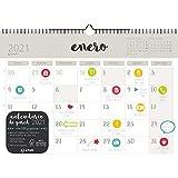 Grafoplás 9112113. Calendario de Pared 2021, Tamaño A3, Papel 135 Gramos, Certificado FSC, Incluye Pegatinas de Colores