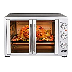 【Large countertop oven】 Enough for baking a 14-inch pizza, roasting a 20-lb turkey, a family cake or a nice tenderloin and comfortably fit 24 cup muffin trays. Four rack positions. More at a time. Usable interior dimensions are 16-3/8 W x 15-7/8 D x ...
