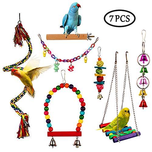 7 stks Vogel Papegaai Speelgoed, Papegaaien Kleurrijke Hangmat Swing Bell, Huisdier Vogel Houten Perch Kauwspeelgoed, Klimmen Ladders Speelgoed voor Papegaaien, Parakeet, Conure, Cockatiel, Mynah, Vinken, Liefde Vogels