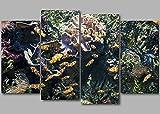GSDFSD Acuario Payaso pez bajo el Agua océano - Cuadro en Lienzo 4 Partes Panorámico Cuadro impresión, Cuadros Decoracion Salon Modernos, Sin Marco 120x80cm