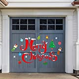 Whaline Christmas Garage Decoration Stickers 30Pcs Garage Door Decals Non-Magnetic Merry Christmas Xmas Tree Snowflake Reusable PVC Stickers with Foam Tape for Fridge Window Wall Xmas Holiday Decor