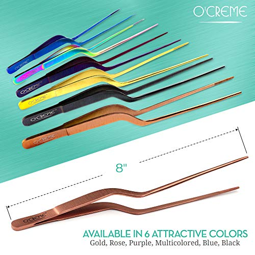 O'Creme 8 Inch Rose Gold Stainless Steel Precision Kitchen Culinary Offset Tweezer Tongs