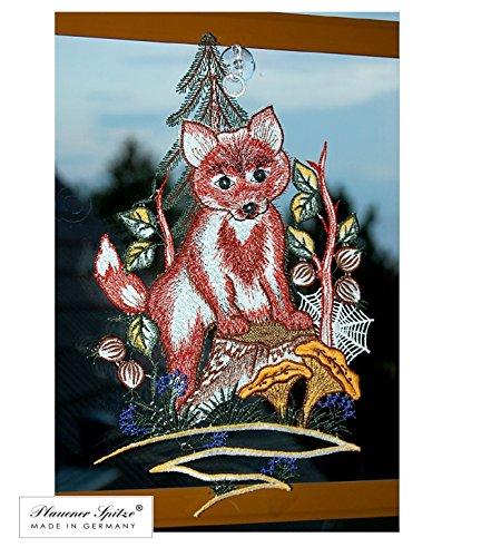 Fensterbild 19x33 cm + Saugnapf Plaunener Spitze ® Stickerei Fuchs im Wald Spitzenbild Herbst