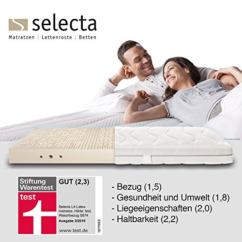 Selecta L4 Latexmatratze, Stiftung WarentestTestsiegermatratze 3/2018, Soft H1, 100x200 cm, Rundum Waschbezug S874