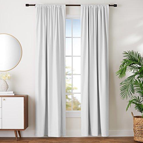 Amazon Basics Room Darkening Blackout Window Curtains with Tie Backs Set - 52 x 96, White