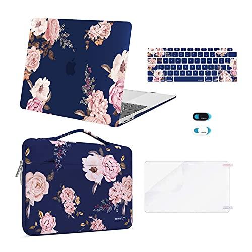 MOSISO Funda Compatible con MacBook Air 13 Pulgadas 2020 2019 2018 A2337 M1 A2179 A1932 Retina, Estuche Rígida Plástico Peony&Bolso&Piel de Teclado&Cubierta de Webcam&Protector de Pantalla,Azul