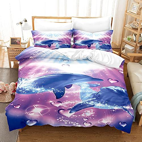 PTNQAZ Juego de ropa de cama con estampado en 3D, color morado con fundas de almohada, funda de edredón para niños, ropa de cama (King