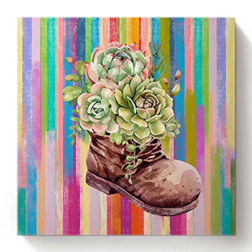 Chucoco Watercolor Boot Succulents Summer DIY Oil Painting Paint by Numbers Kits for Adults Kids Beginner,Colorful Home Wall Art Canvas Decor
