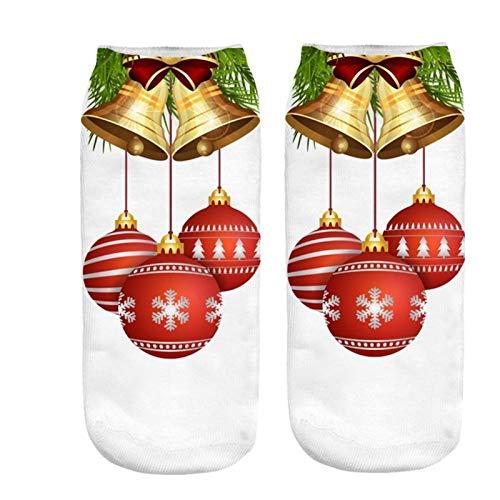 Calcetines de navidad 2 pares de algodón puro invierno tubo recto calcetines de Navidad for los hombres y mujeres de la impresión de dibujos animados renos de Santa Claus calcetines copo de nieve para