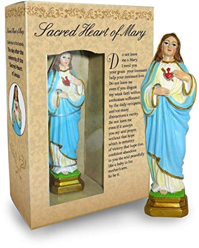 Statua del Sacro Cuore di Maria da 12 cm in Confezione Regalo con segnalibro in Versione Inglese