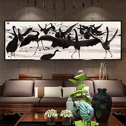 DIY 5D Diamond Painting by Number Kits Large Size Black Crane Full Drill Rhinestone Embroidery Cross Stitch Mosaic Diamond Art Craft Home Wall Decor Qn10642-Square Drill,150x50cm