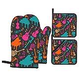 Ofenhandschuhe Und Topflappen Set 4 Musikinstrumente Silhouette Grillhandschuhe Backofenhandschuh Backhandschuhe Für Pfannen Tabletts Bbq