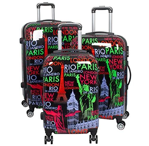 PM - Juego de 3 maletas rígidas (policarbonato, tamaño M, L y XL), diseño de ciudades