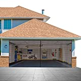 Garage Door Screen for 2 Cars 16.3x7.15FT Garage Doors, with High Energy Magnets Screen Door Durable Fiberglass Hands Free Instant Heavy Bottom Magnetic Screen Net with 6 Strapping Tapes (Fit 16x7FT)