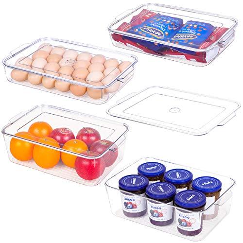Refrigerator Organizer Bins with Lids - 4 Piece Fridge Organizers and Storage Clear Bins, Kitchen Storage Bins for Pantry, Cabinet, Fridge/Freezer, BPA Free(2 Large & 2 Small)