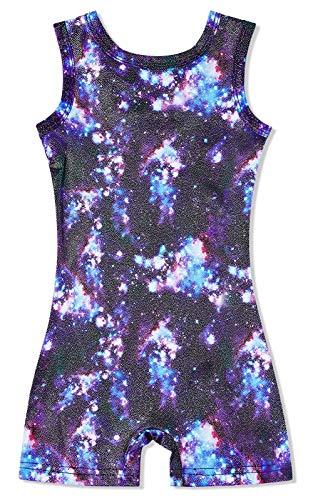 Idgreatim Coole Grafik Gymnastikanzug gedruckt Gymnastik Trikot lila Galaxy Space Ballett Dancewear gemusterte Biketard Bodys für Jugendliche Kinder Teenager Mädchen 5-6 T