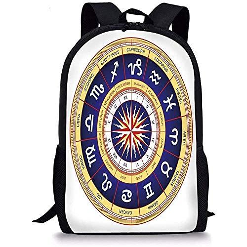 Mei-shop Schultaschen AstrologieAstrologischer Radkrebs Leo Virgo Waage Skorpion Symbole ImageNavy Blau Weiß und Gelb