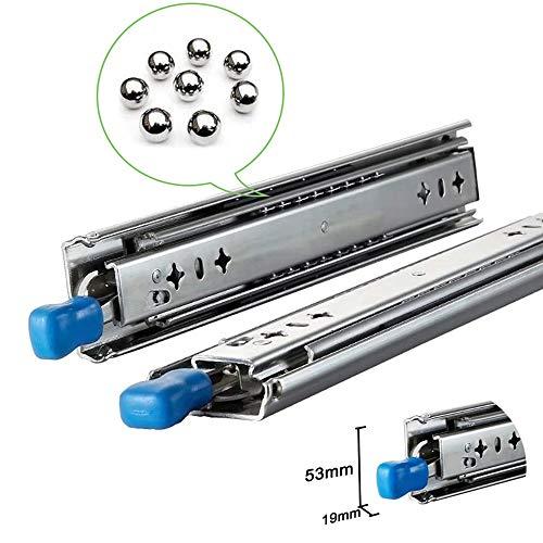 Outech 2 STÜCK Schubladenschiene Schwerlast 3-teilige Vollauszüge |(25-150cm)| Tragkraft Bis 160 Kg | Mit Arretierung | Kugellager-Schubladenschienen, Drücken Sie Um Zu Öffnen