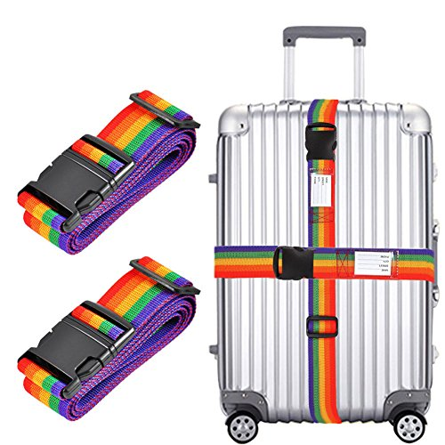 2x Luggage Strap, Adjustable 78' Long Travel Packing Belt Suitcase Baggage Security Straps