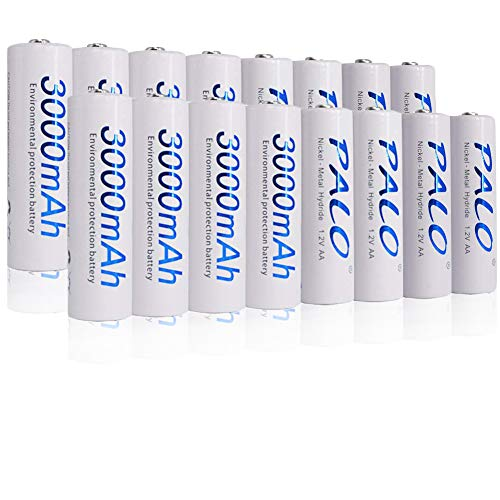 PALO 16 Pack 1.2V AA NI-MH Rechargeable Batteries 3000mAh High Capacity Battery with 4 Storage Cases