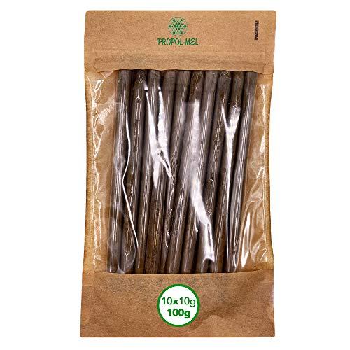 100 gramos Propoleo puro presentación x 10 bastoncitos 10 g c/u. 100% natural, limpio y purificado. El mejor antibiótico natural.