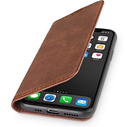 WIIUKA Echt Ledertasche - TRAVEL Nature - Hülle für Apple iPhone 11 Pro - ITALIENISCHES Leder - Vintage Braun, mit Kartenfach, extra Dünn, Tasche, Premium Leder kompatibel mit iPhone 11 Pro