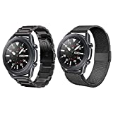 ACESTAR Compatible with Samsung Galaxy Watch 3 45mm bands,2-Pack 22mm Stainless Steel Metal Bands+Mesh Wristband Sport Loop for Galaxy Watch 3 Bands 45mm Men Women/Galaxy Watch 46mm /Gear S3 Frontier