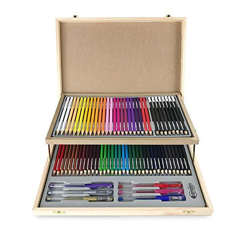 Set di cancelleria contenente 75pezzi in legno, tra cui 60 matite colorate, 8 matite da disegno di alta qualità, 3...
