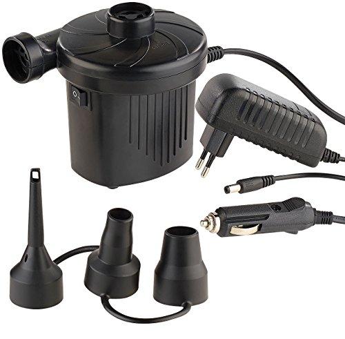 PEARL Luftpumpe 12V: Elektrische Luftpumpe mit 3 Aufsätzen, für 12 & 230 V, 50 Watt (Elektrische Luftpumpe 12V)