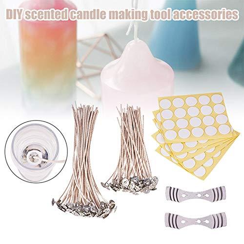 Majome 1 Set DIY Kaars Maken Kit met Kaars Wick Center Apparaat Waarschuwing Stickers Onderdelen