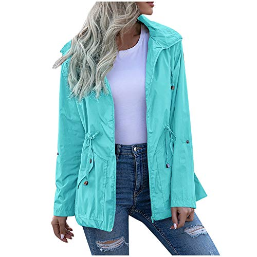 NaRHbrg Women's Waterproof Raincoat Zipper Mid Length Raincoat Rainwear Outdoor Rain Jacket Hooded Active Windbreaker Mint Green