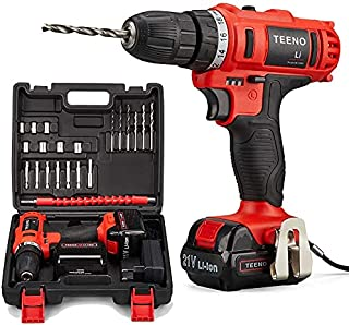 TEENO Wireless screws drill 21V, 1 Battery,2 Speeds,21 Accessories (Drill and One battery)
