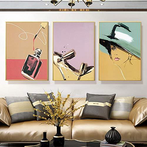 3 piezas de maquillaje, póster de moda, estampado, zapatos de perfume, pintura...