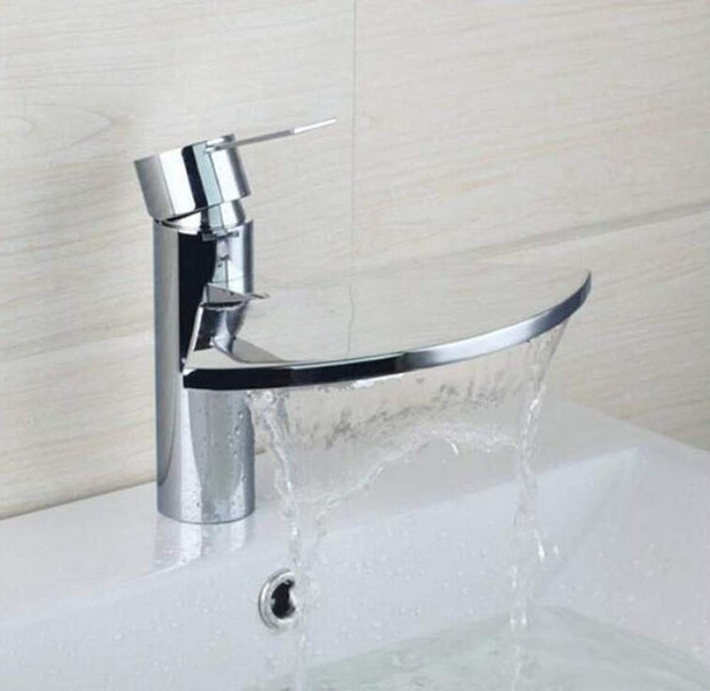 Brass Wall Faucet Chrome Brass Faucetbathroom Sink Faucet Bathroom Waterfall Spout Deck Mount Single