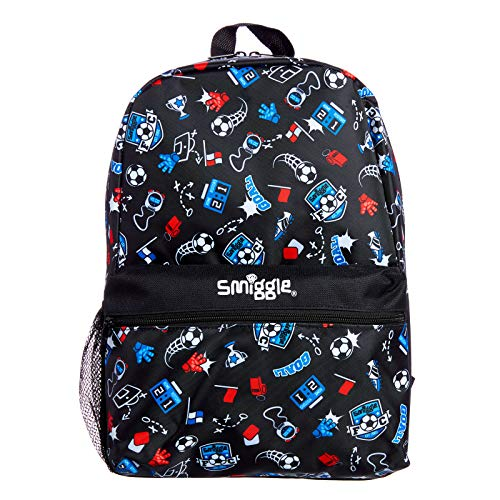 Smiggle Giggle Kids School Backpack with 2 Zipped compartments for Boys and Girls   Football Print