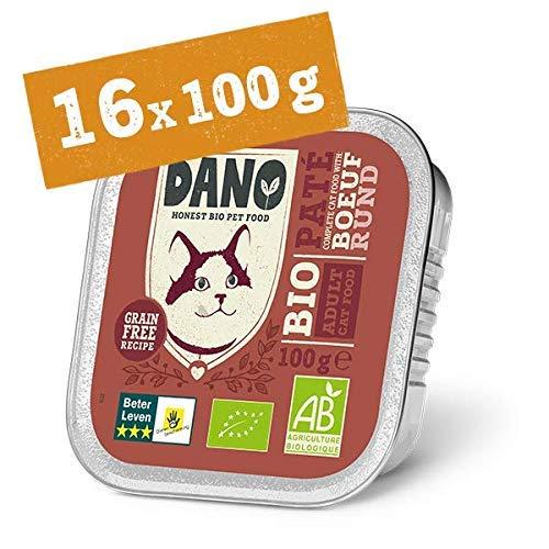 DANO Bio Pastete für Katzen mit Rind - 16 x 100 gr - für Katzen Aller Rassen und Altersgruppen - Getreidefrei - Frei von Künstlichen Zusatzstoffen - mit Bio Huhn und Chicorée