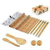 GUO Herramientas Sushi De Bambú Juego Completo De Sushi 10 Pc/Juego Lavable Reutilizable para Hacer Rollos De Sushi De Algas Marinas