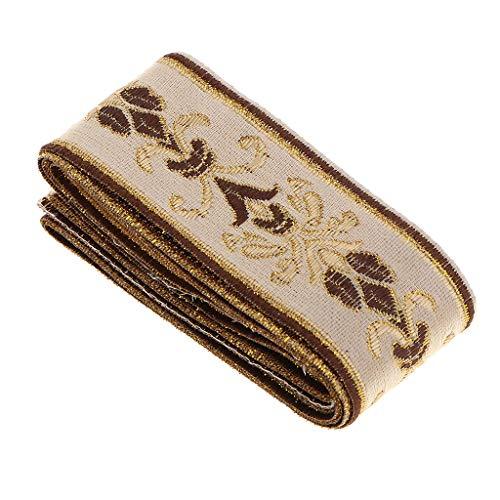 5 Meter Retro Borte Stoffborte beige Webband Stoffbänder Nähen Band Kurzwaren, Schöne Bänder zum Geschenke basteln - 40 mm x 5000 mm
