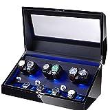 ZNND Watch Watch Winder Elegante Carica Orologi Girevole 6 + 10 Alloggiamenti Motore Silenzioso 5 Diverse modalità LED (Color : Black)